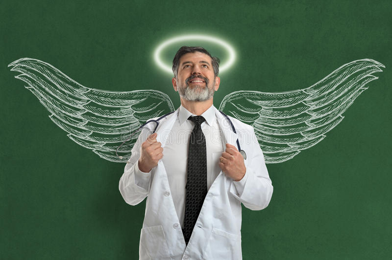Doktor With Angel Wings und Halo stockbild