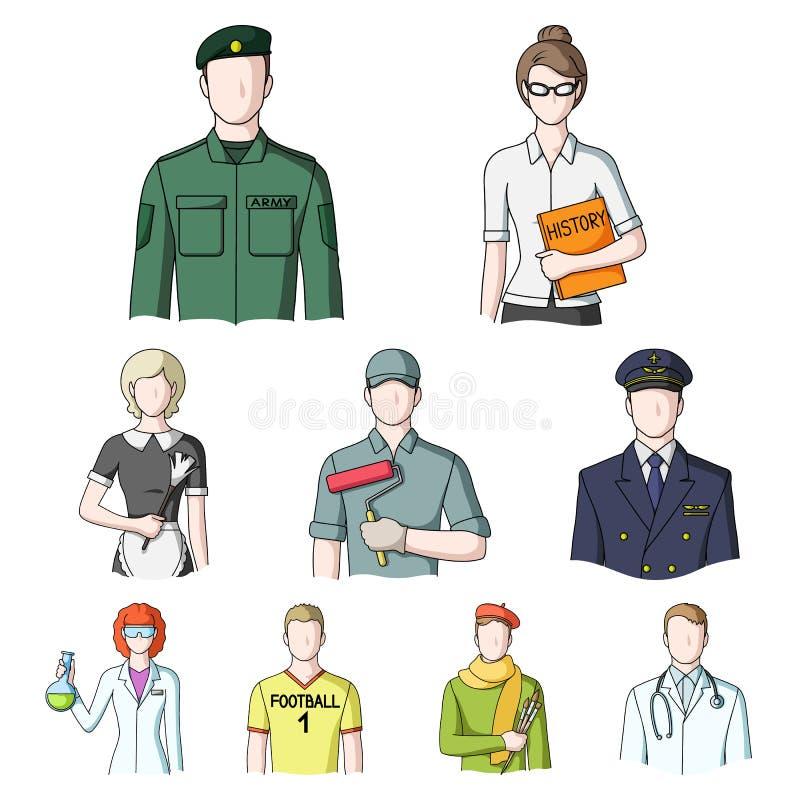 Doktor, arbetare, militär, konstnär och andra typer av yrket vektor illustrationer