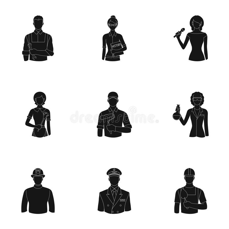 Doktor, arbetare, militär, konstnär och andra typer av yrket Fastställd samling för yrke stock illustrationer