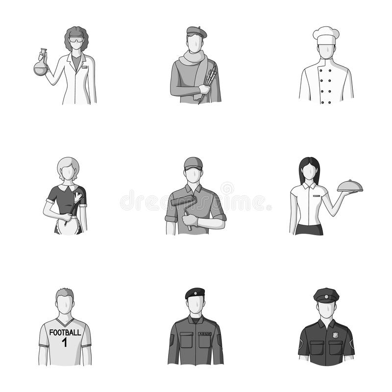 Doktor, arbetare, militär, konstnär och andra typer av yrket Fastställda samlingssymboler för yrke i monokrom stil royaltyfri illustrationer