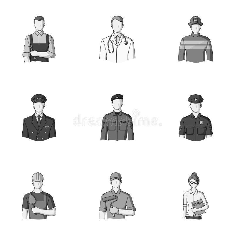 Doktor, arbetare, militär, konstnär och andra typer av yrket Fastställda samlingssymboler för yrke i monokrom stil stock illustrationer