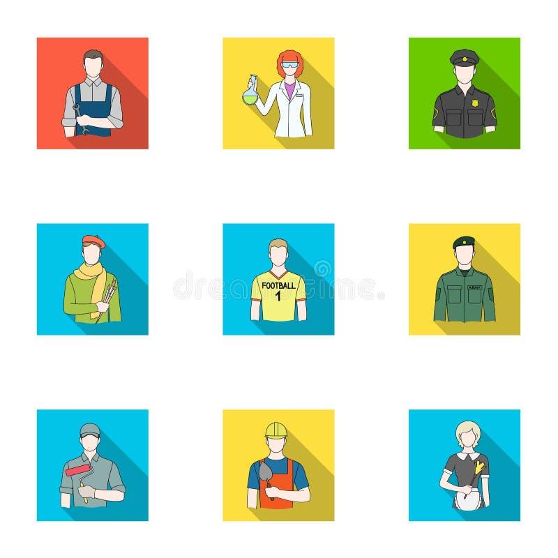Doktor, arbetare, militär, konstnär och andra typer av yrket Fastställda samlingssymboler för yrke i plan stilvektor royaltyfri illustrationer