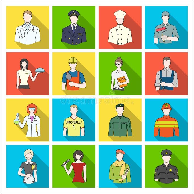 Doktor, arbetare, militär, konstnär och andra typer av yrket Fastställda samlingssymboler för yrke i plan stilvektor vektor illustrationer