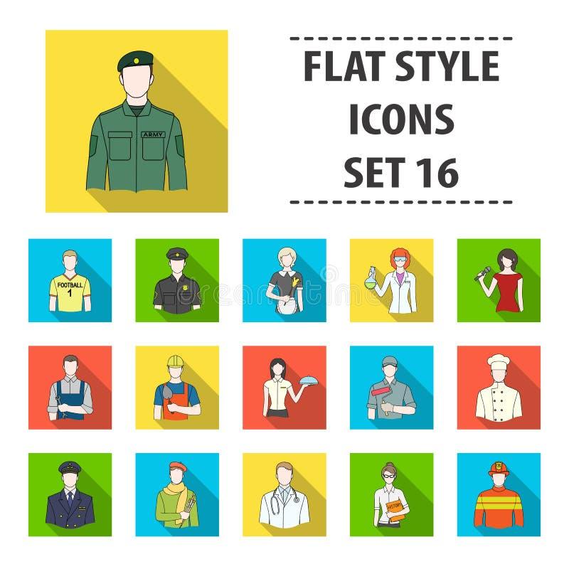 Doktor, arbetare, militär, konstnär och andra typer av yrket Fastställda samlingssymboler för yrke i plan stilvektor stock illustrationer