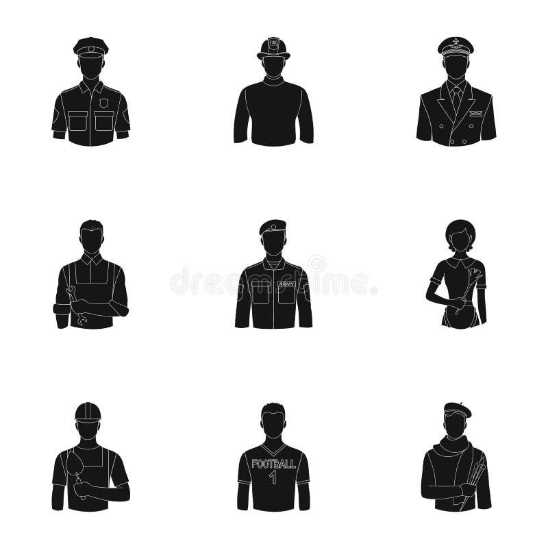 Doktor, arbetare, militär, konstnär och andra typer av yrket Fastställda samlingssymboler för yrke i svart stilvektor vektor illustrationer