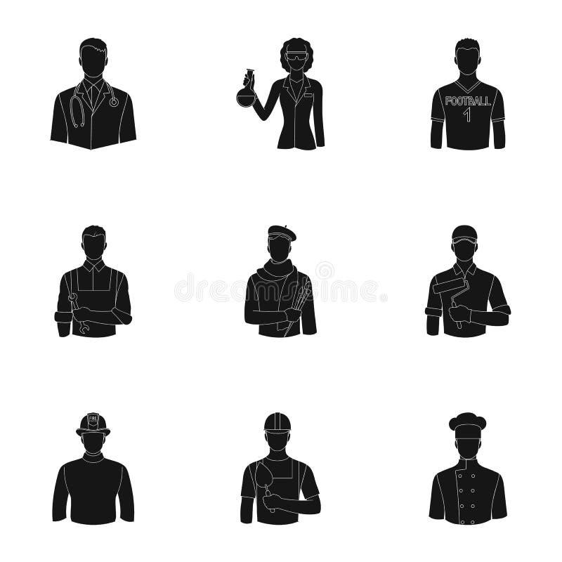 Doktor, arbetare, militär, konstnär och andra typer av yrket Fastställda samlingssymboler för yrke i svart stilvektor stock illustrationer