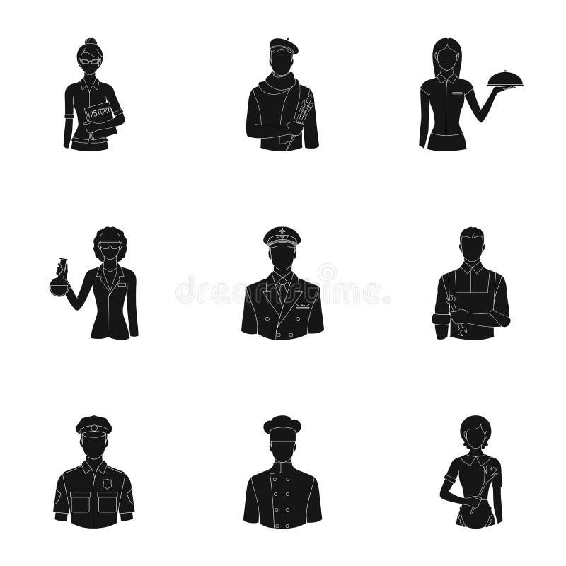 Doktor, arbetare, militär, konstnär och andra typer av yrket Fastställda samlingssymboler för yrke i svart stilvektor royaltyfri illustrationer