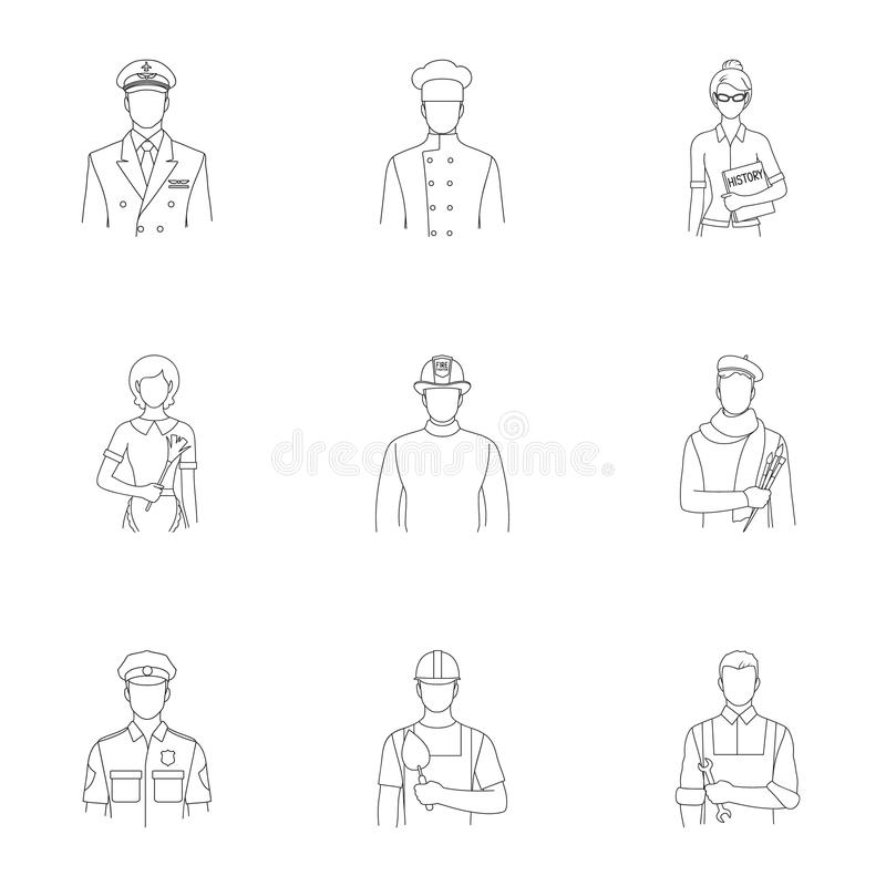 Doktor, arbetare, militär, konstnär och andra typer av yrket Utformar fastställda samlingssymboler för yrke i översikt vektorn stock illustrationer