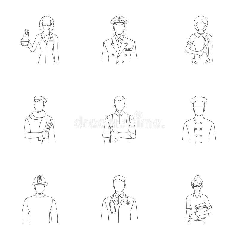 Doktor, arbetare, militär, konstnär och andra typer av yrket Utformar fastställda samlingssymboler för yrke i översikt vektorn vektor illustrationer