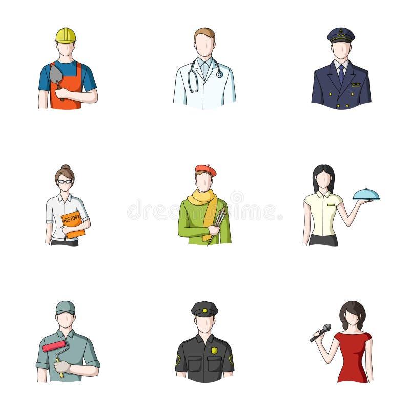 Doktor, arbetare, militär, konstnär och andra typer av yrket Utformar fastställda samlingssymboler för yrke i tecknad film vektor stock illustrationer