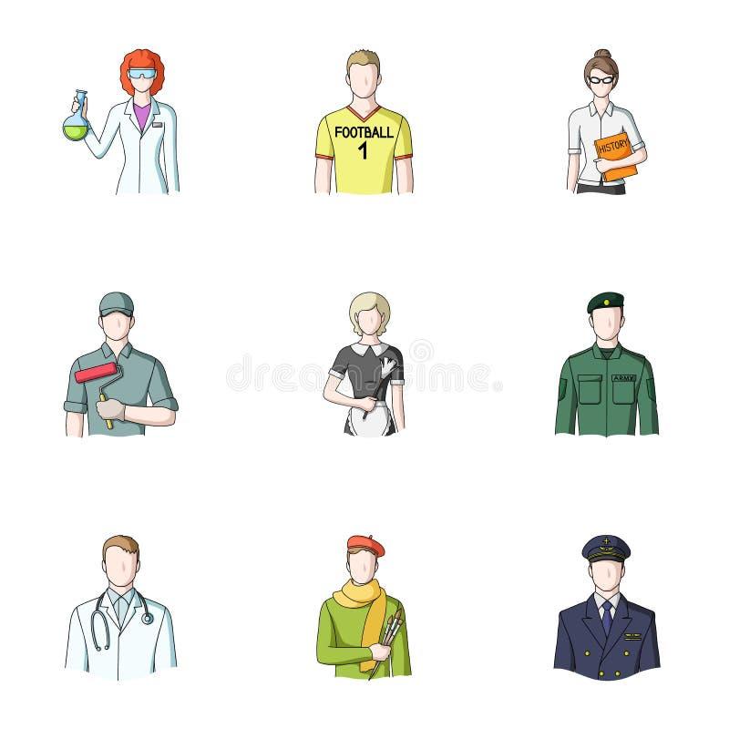 Doktor, arbetare, militär, konstnär och andra typer av yrket Utformar fastställda samlingssymboler för yrke i tecknad film vektor royaltyfri illustrationer