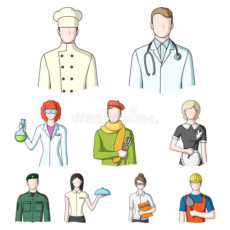 Doktor, arbetare, militär, konstnär och andra typer av yrket Utformar fastställda samlingssymboler för yrke i tecknad film vektor vektor illustrationer