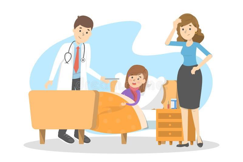 Doktor besuchen das kranke Kind, das im Bett liegt vektor abbildung