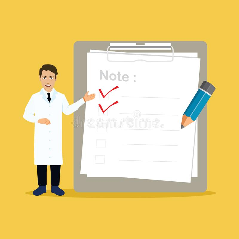 Doktor With Big Clipboard och kontrollistavektorillustration stock illustrationer