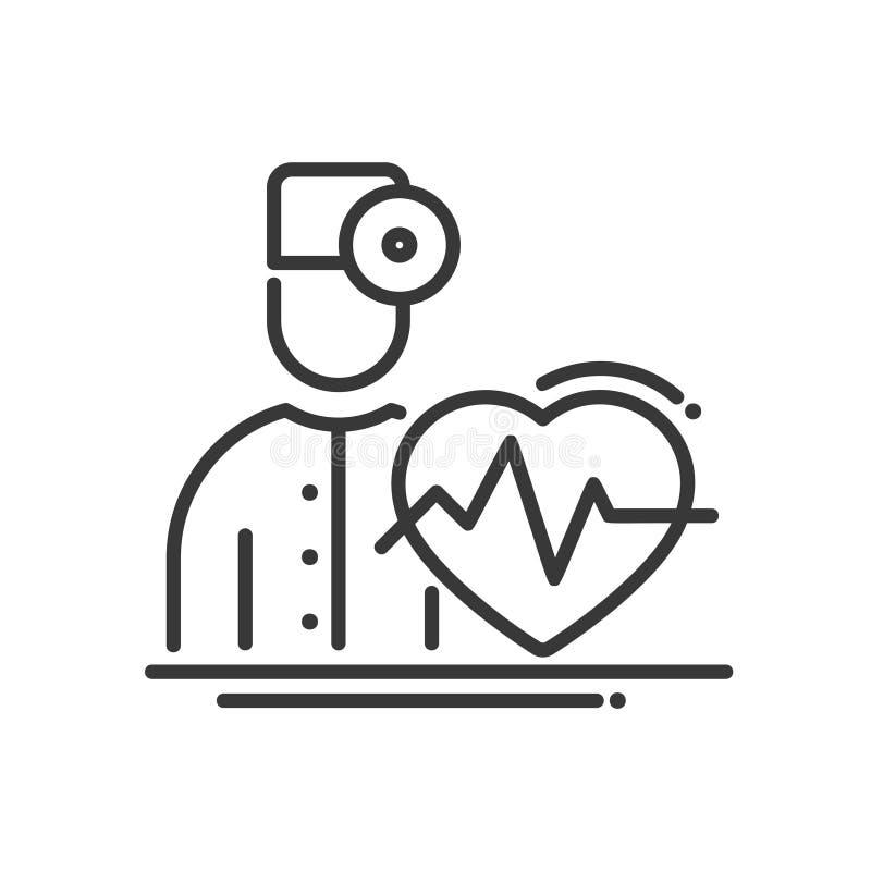 Doktor Cardiologist - modern linje illustrativ symbol för vektor för design stock illustrationer