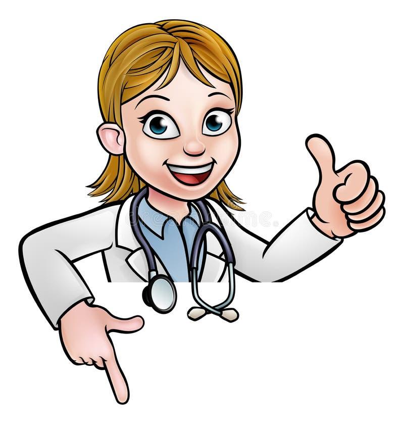 Doktor Cartoon Character Thumbs som upp ner pekar royaltyfri illustrationer