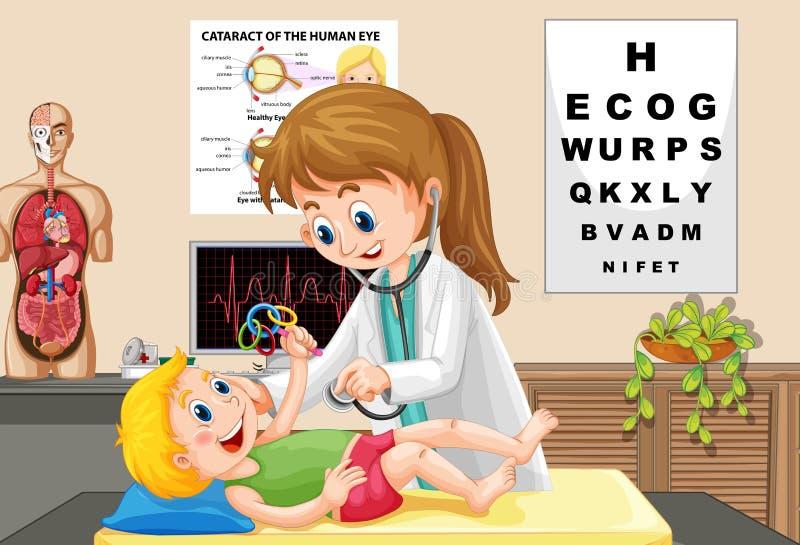 Doktor Check upp en behandla som ett barn stock illustrationer