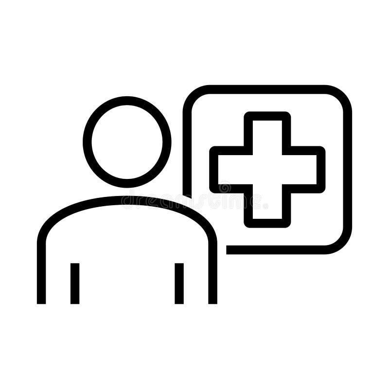 Doktor Consultation Icon Arzt Icon mit Querpluszeichen der ärztlichen Betreuung Auch im corel abgehobenen Betrag stock abbildung