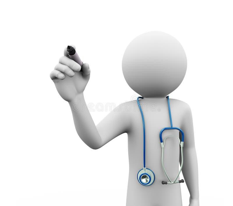 Doktor 3d mit Stethoskopschreiben auf Schirm vektor abbildung
