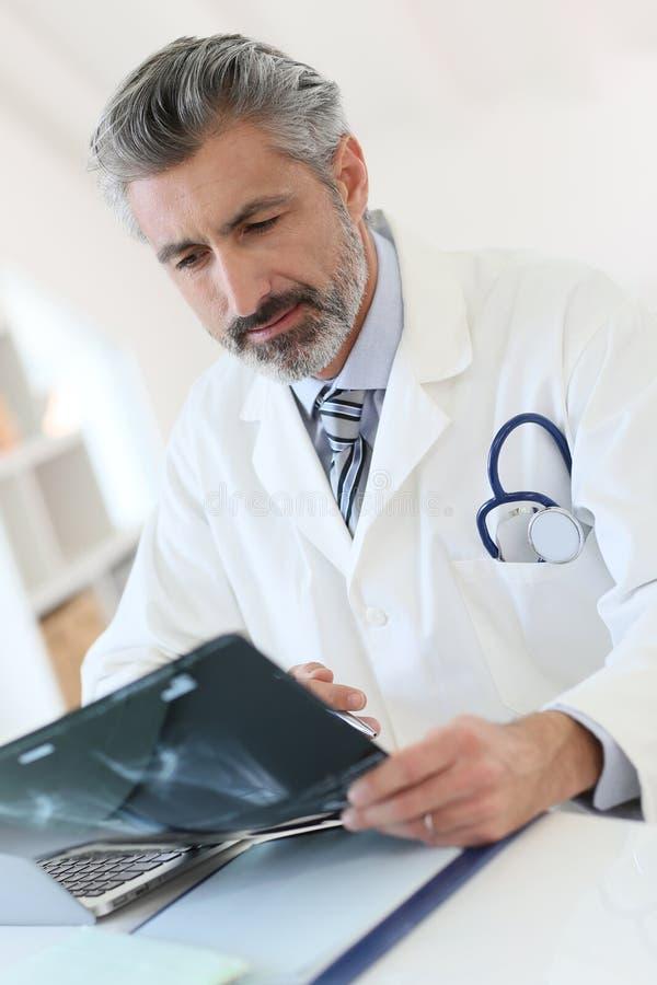 Doktor, der an den Röntgenstrahlergebnissen analysiert stockfoto