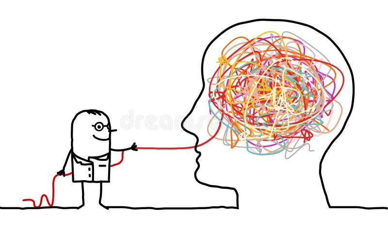 Doktor, der einen Gehirnknoten löst lizenzfreie abbildung