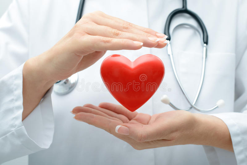 Doktor, der Herz hält lizenzfreies stockbild