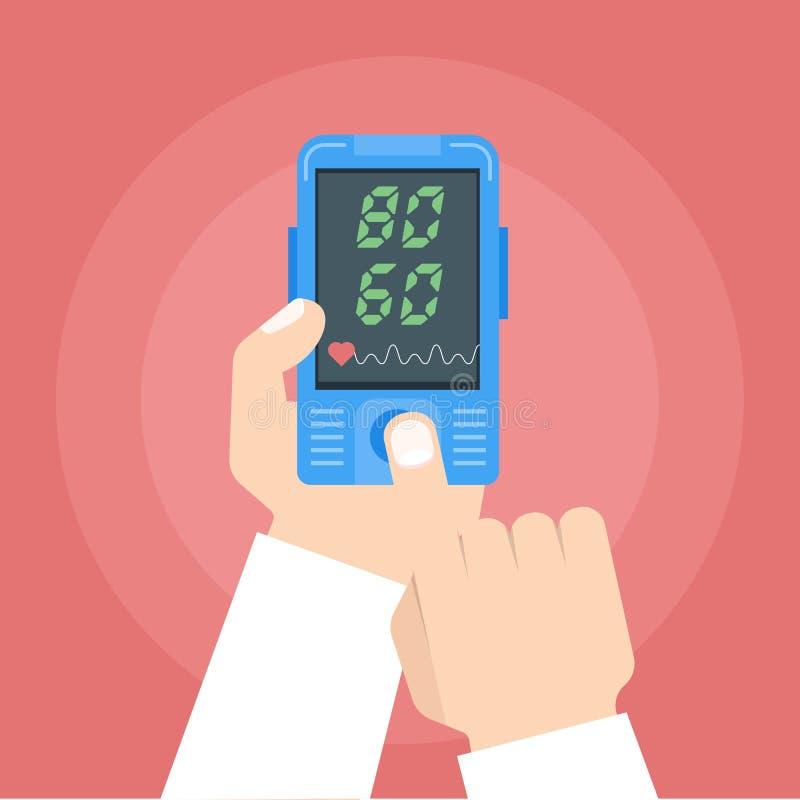Doktor, der Herzfrequenz überprüft Pulsoximeter in den Händen lizenzfreie abbildung