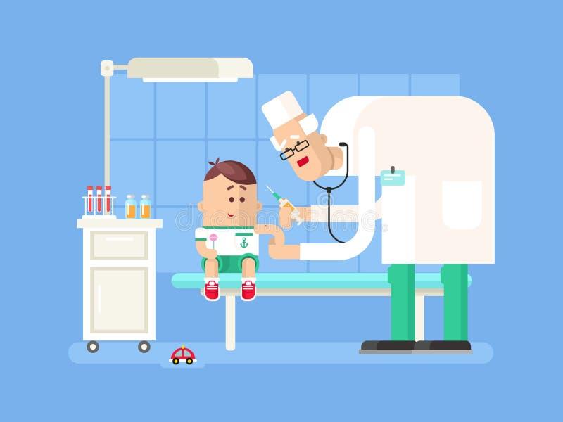 Doktor, der Kinderschutzimpfung tut vektor abbildung
