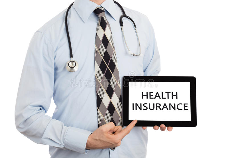 Doktor, der Tablette - Krankenversicherung hält stockbild
