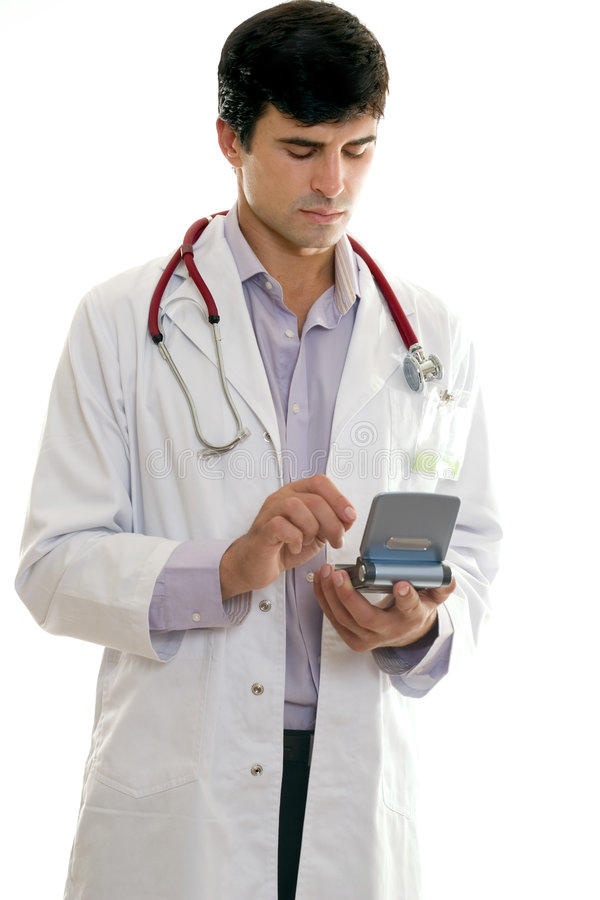 Doktor, der Technologie einsetzt lizenzfreies stockbild