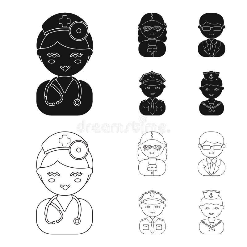 Doktor domare, affär, polisen Fastställda samlingssymboler för yrke i svart, illustration för materiel för symbol för översiktsst vektor illustrationer