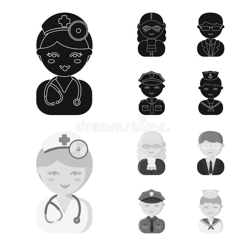 Doktor domare, affär, polisen Fastställda samlingssymboler för yrke i svart, materiel för symbol för monochromstilvektor royaltyfri illustrationer