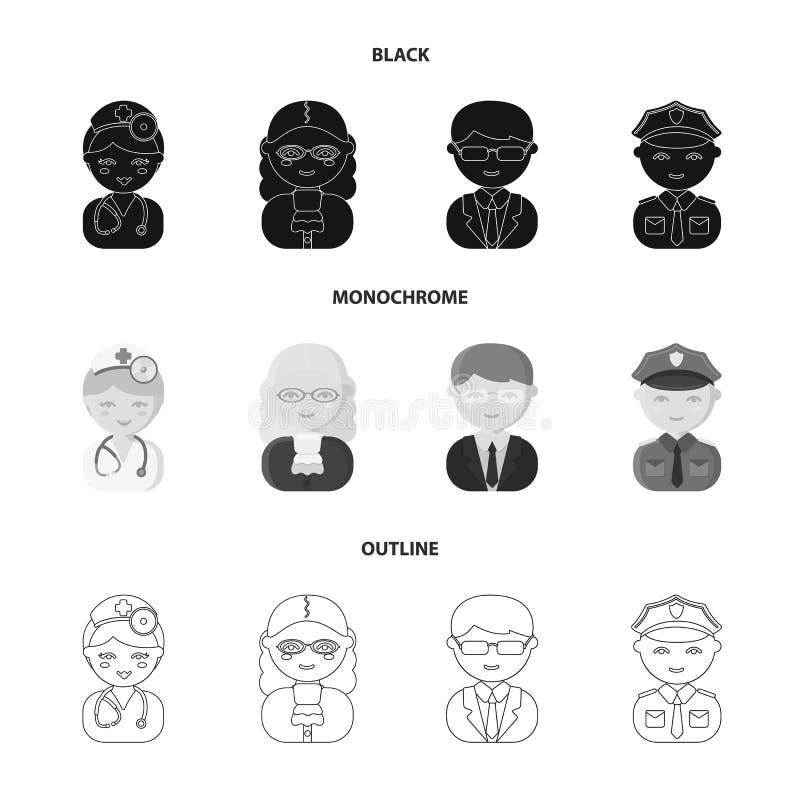 Doktor domare, affär, polisen Fastställda samlingssymboler för yrke i svart, monokrom, materiel för symbol för översiktsstilvekto stock illustrationer