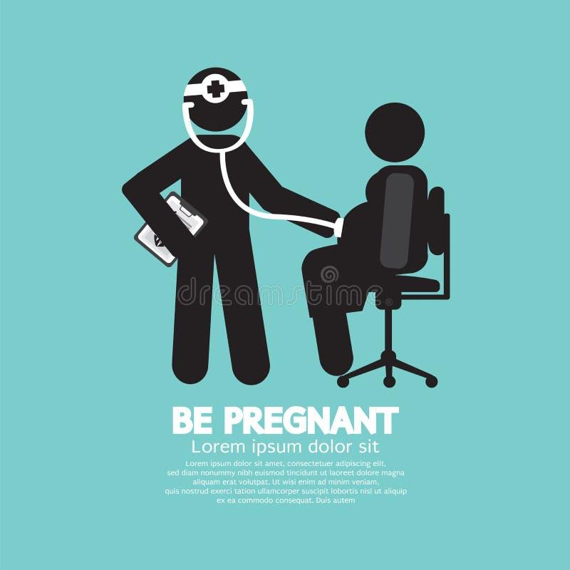 Doktor With ett gravid kvinnasymbol royaltyfri illustrationer