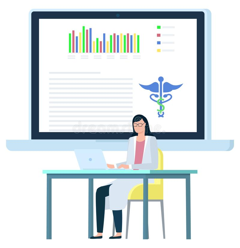 Doktor Female Working med bärbara datorn, dokumentvektor vektor illustrationer
