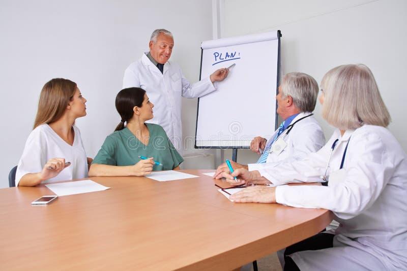 Doktor i en presentation som förklarar plan royaltyfria foton