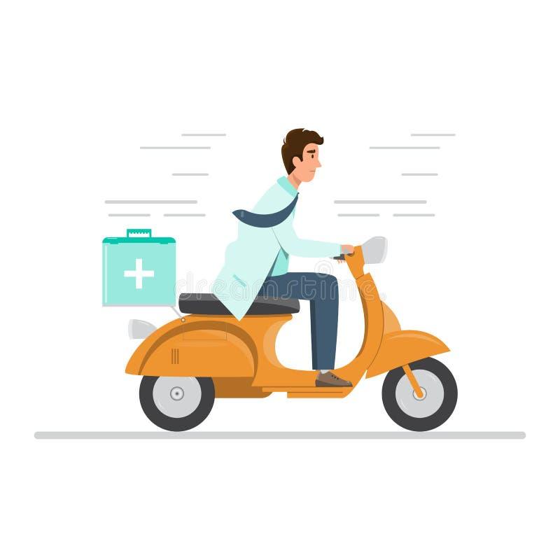 doktor i enhetlig rida motorcykel med den medicinska f?rsta hj?lpensatsen royaltyfri illustrationer
