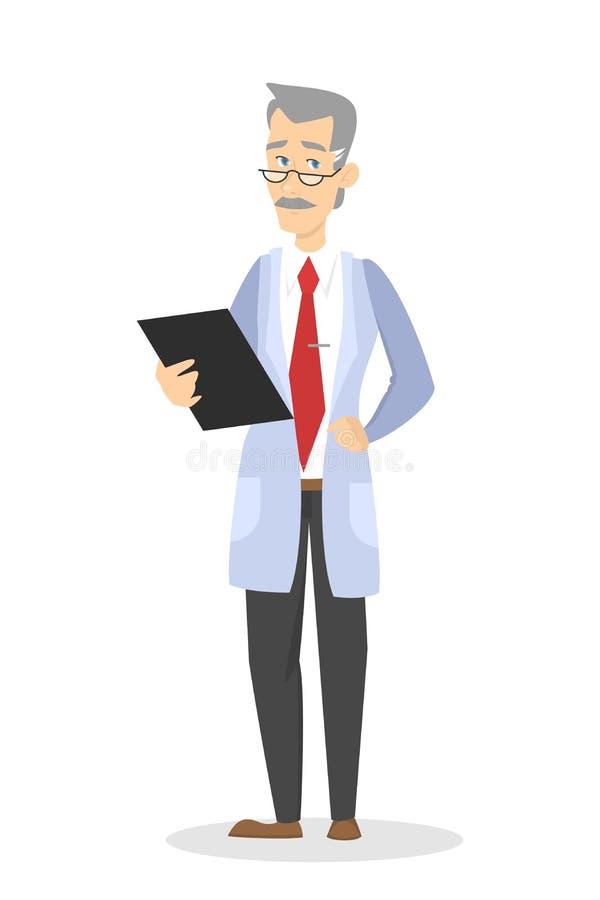 Doktor i enhetligt anseende och hållande skrivplatta vektor illustrationer