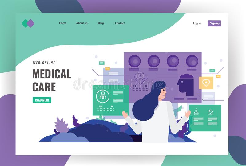 Doktor i futuristisk medicinsk analys på den digitala skärmen stock illustrationer
