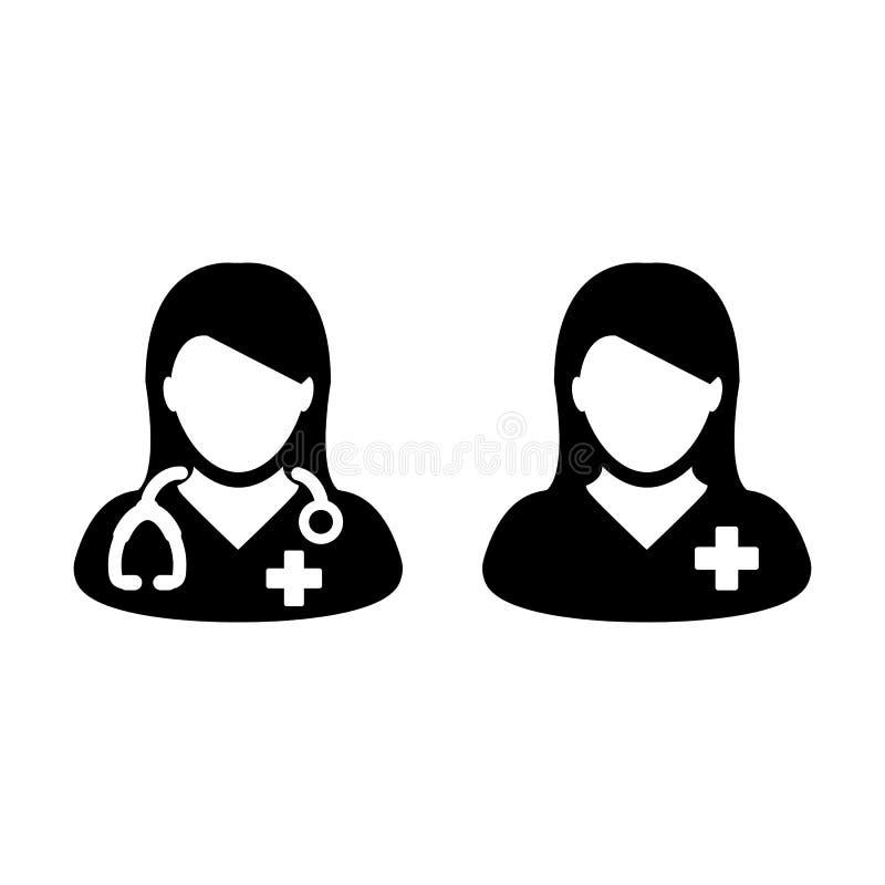 Doktor Icon Vector med kvinnlig tålmodig medicinsk konsultation stock illustrationer