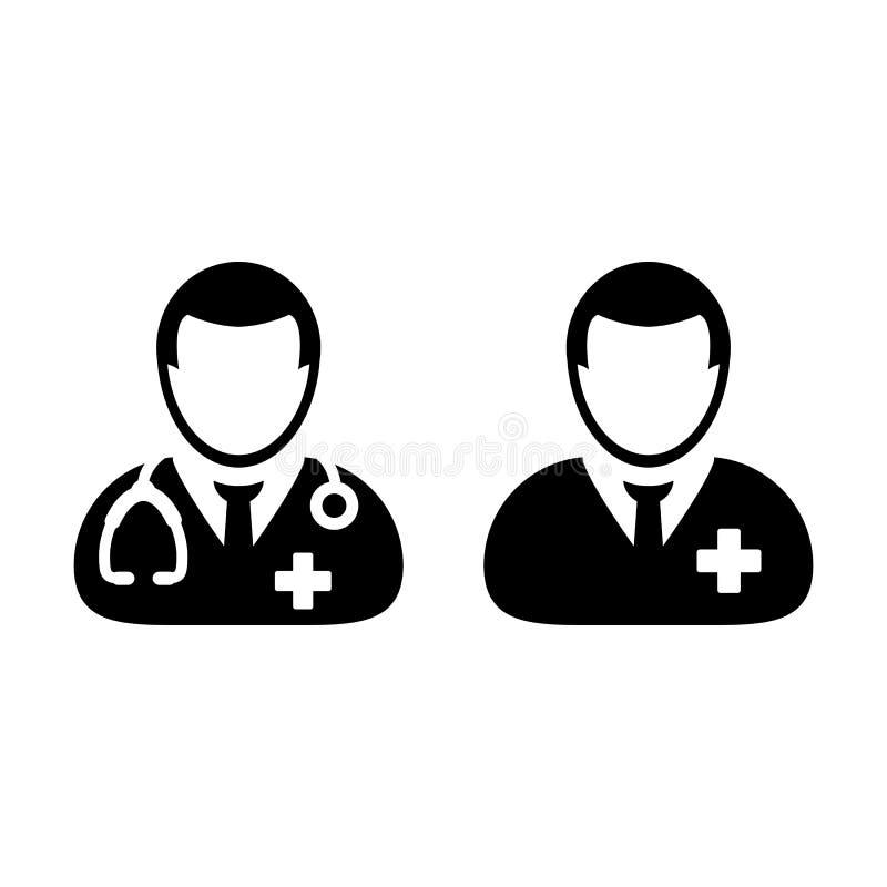 Doktor Icon Vector med manlig tålmodig medicinsk konsultation stock illustrationer