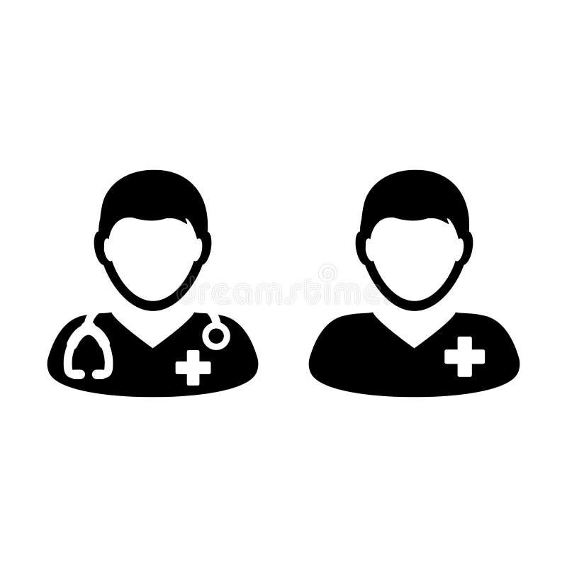 Doktor Icon Vector mit männlicher geduldiger medizinischer Beratung stock abbildung