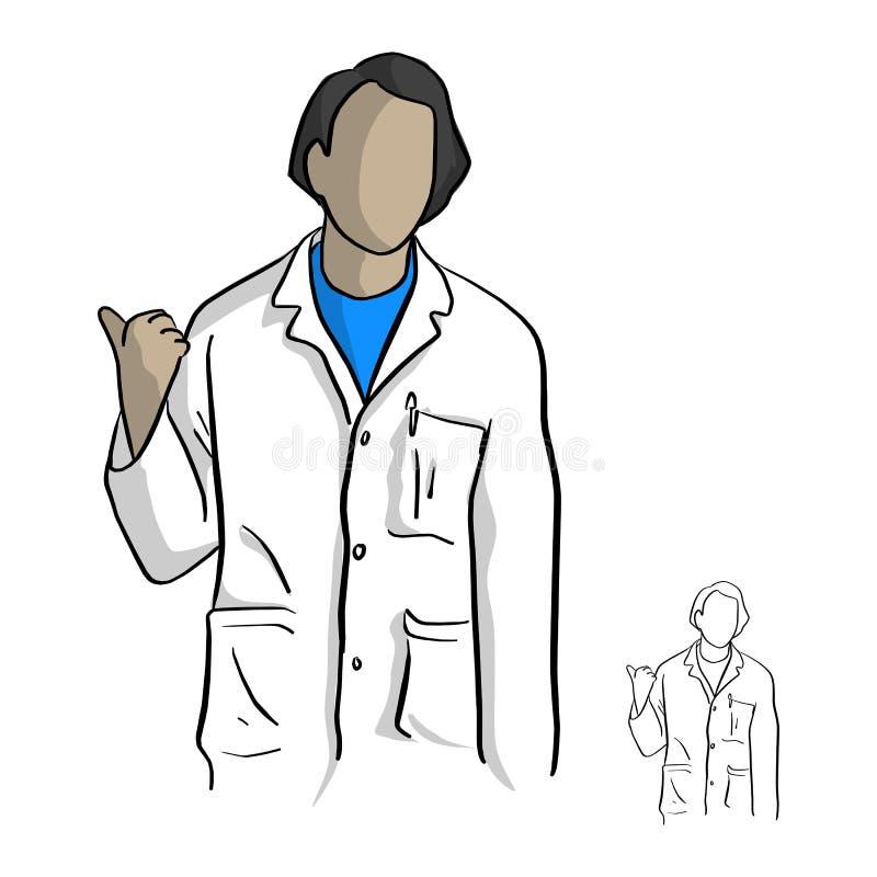 Doktor im weißen Kleid, das ein Gestenzeigen macht lizenzfreie abbildung