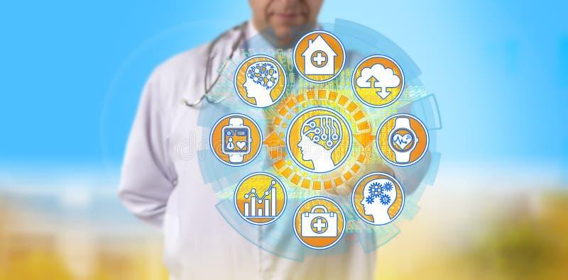 Doktor Initiating AI, zum auf von Gesundheitsinformation zuzugreifen stockfoto