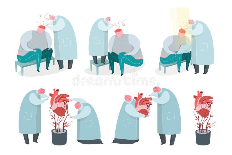 Doktor, kirurg och psykolog som arbetar med den mänskliga hjärta och hjärnan stock illustrationer