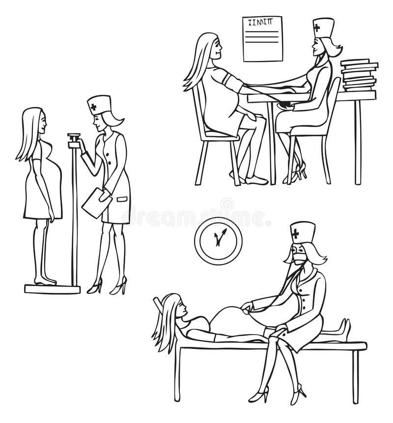 doktor kobiety w ciąży ilustracja wektor