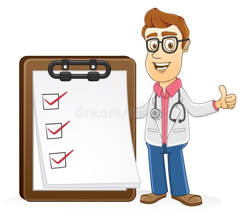 Doktor - läkarundersökning för kontrollerande lista vektor illustrationer
