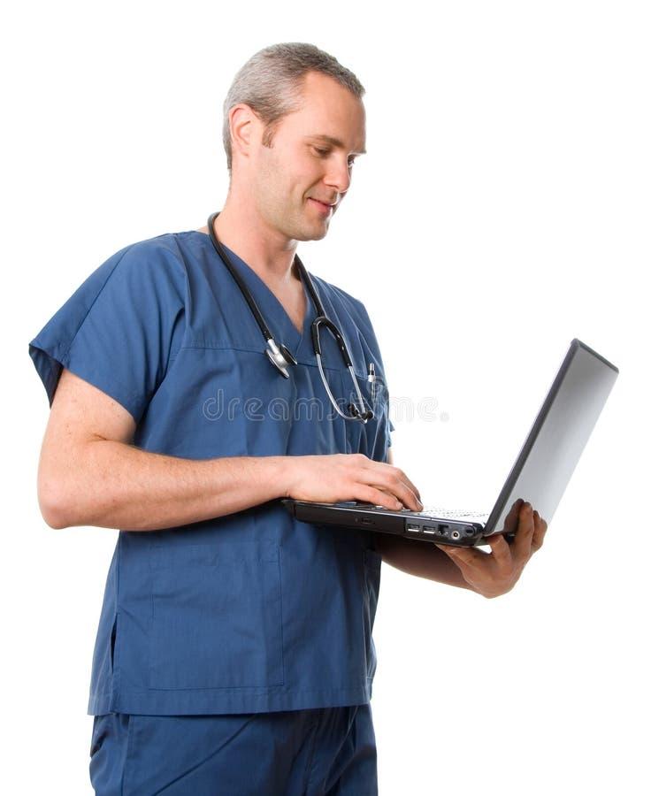 doktor laptop zdjęcie stock