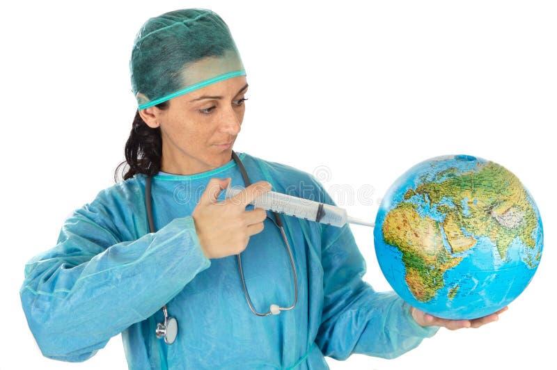 doktor leczy atrakcyjny, chory dama świata zdjęcie royalty free