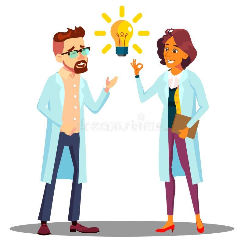 Doktor Man, Frau gefundene Antwort, Lösung, Idee Glühlampe über Hauptvektor Lokalisierte Karikaturillustration stock abbildung